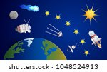 artificial earth satellites and ... | Shutterstock .eps vector #1048524913