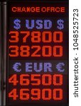Small photo of Exchange currency rate table for dollar and euro
