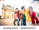 multi ethnic group of teens... | Shutterstock . vector #1048526527
