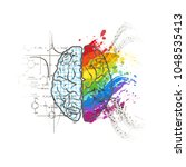 technical and art hemispheres... | Shutterstock .eps vector #1048535413