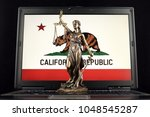 symbol of law and justice with... | Shutterstock . vector #1048545287