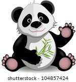 illustration funny panda on stem of the bamboo - stock vector