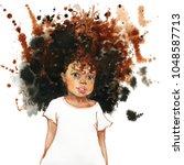 watercolor portrait of african...   Shutterstock . vector #1048587713