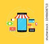 mobile commerce flat vector... | Shutterstock .eps vector #1048608713