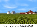 Soy bean field mid summer morning rows shallow depth with red barn
