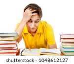 troubled student with a books... | Shutterstock . vector #1048612127