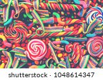 colorful bright assorted  candy ... | Shutterstock . vector #1048614347