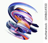 3d render  abstract twisted... | Shutterstock . vector #1048614533