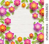 artificial paper flowers on a... | Shutterstock .eps vector #1048663823