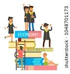 happy graduate characters...   Shutterstock .eps vector #1048701173