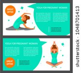 two horizontal flyers of yoga...   Shutterstock .eps vector #1048701413