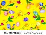 happy easter concept. pattern...   Shutterstock . vector #1048717373