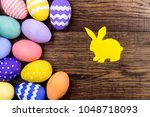 happy easter concept. colorful...   Shutterstock . vector #1048718093