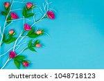 happy easter concept. blue...   Shutterstock . vector #1048718123