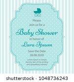 elegant baby shower invitation... | Shutterstock .eps vector #1048736243