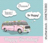 happy birthday card with cute... | Shutterstock .eps vector #1048743383
