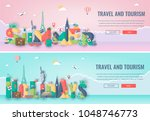 travel composition with famous... | Shutterstock .eps vector #1048746773