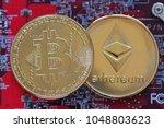 bitcoin  btc  bit coin. crypto... | Shutterstock . vector #1048803623