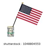 american small flag with roll... | Shutterstock . vector #1048804553