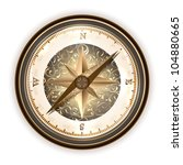 Vintage antique compass over white - stock vector