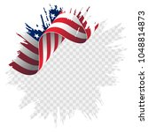 illustration wavy american flag ... | Shutterstock .eps vector #1048814873
