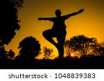 chubby man doing yoga in the... | Shutterstock . vector #1048839383