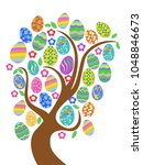 colorful easter eggs tree  | Shutterstock .eps vector #1048846673