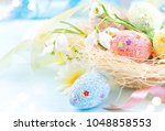 Easter Colorful Eggs Backgroun...
