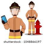 firefighter in professional... | Shutterstock .eps vector #1048866197