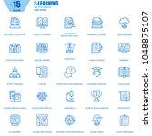 thin line online education  e...   Shutterstock .eps vector #1048875107