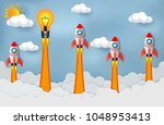 space shuttle and lamps... | Shutterstock .eps vector #1048953413