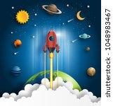 paper art style of rocket... | Shutterstock .eps vector #1048983467