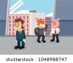 business animal gossiping his... | Shutterstock .eps vector #1048988747
