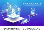 cryptocurrency and blockchain... | Shutterstock .eps vector #1049000147