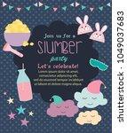 pajama sleepover kids' party... | Shutterstock .eps vector #1049037683