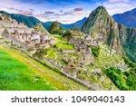 machu picchu in peru   ruins of ... | Shutterstock . vector #1049040143
