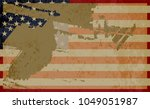 grunge flag of usa.american... | Shutterstock .eps vector #1049051987
