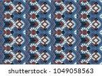 ikat geometric folklore... | Shutterstock .eps vector #1049058563