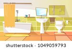 vector cartoon bathroom... | Shutterstock .eps vector #1049059793
