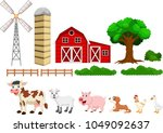 illustration of farm set... | Shutterstock .eps vector #1049092637