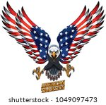 american eagle with usa flags | Shutterstock .eps vector #1049097473