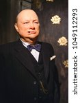 Small photo of PRAGUE, CZECH REPUBLIC - MAY 2017: Wax statue Sir Winston Leonard Spencer-Churchill was a British politician in the Wax Museum in the Czech Republic in the capital Prague