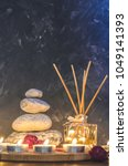 spa composition stones  candles ... | Shutterstock . vector #1049141393