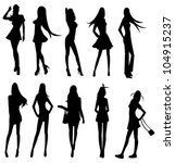 sets of sexy silhouette girl... | Shutterstock .eps vector #104915237