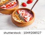 vegan breakfast concept....   Shutterstock . vector #1049208527