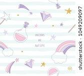 unicorn magic seamless pattern... | Shutterstock .eps vector #1049209097