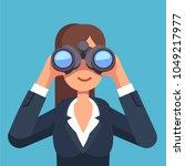 business woman looking through... | Shutterstock .eps vector #1049217977