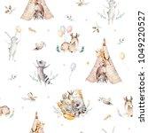 cute family baby raccon  deer... | Shutterstock . vector #1049220527