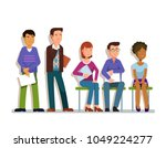 a line of applicants wating for ... | Shutterstock .eps vector #1049224277