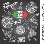 pasta dishes  pieces of pizza ... | Shutterstock .eps vector #1049232947